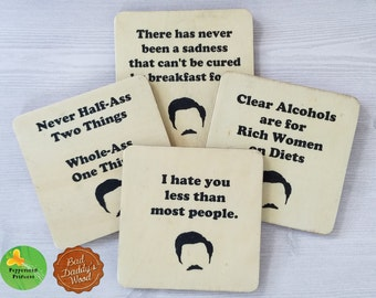 Ron Swanson Coasters Parks and Recreation Coasters Ron Swanson Print Parks and Recreation Gift for Guy Funny Guy Gift Funny Coasters - 4