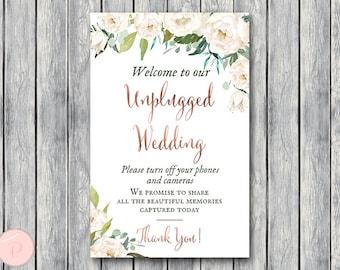 Green Garden Unplugged Wedding Sign, Unplugged Ceremony Sign, Printable Wedding Sign, Printable sign, Wedding decoration sign TH61 dd