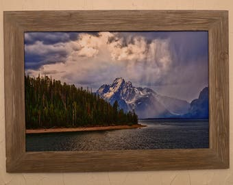 Grand Teton National Park Light On Moran With Custom Barnwood Frame, Classic Wall Art Featuring Fine Art Nature Photography From The Tetons