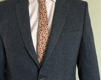 Liberty Print Tie, Neck Tie, red Floral Tie, Grooms Tie, Best Man accessory, Dapper Groom, Hipster, Gift for Dad.