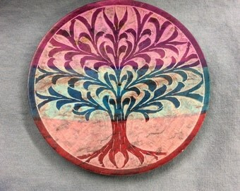 Tree Of Life Tri Color Stone Disk Ash Catcher Incense Holder Decor