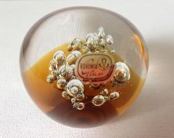 Glass Paper Weight, Glass Paperweight, Paperweight Glass, Paper Weight, Office Desk Accessories, Desk Gift, Small Gift, Bohemia Glass