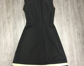 Vintage Sleeveless Black Dress with Mock Neck and Red and White Trim at Bottom S Sm Small
