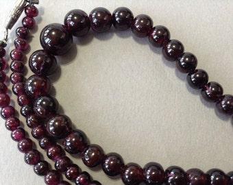Garnet Opera Length Barrel Clasp Necklace