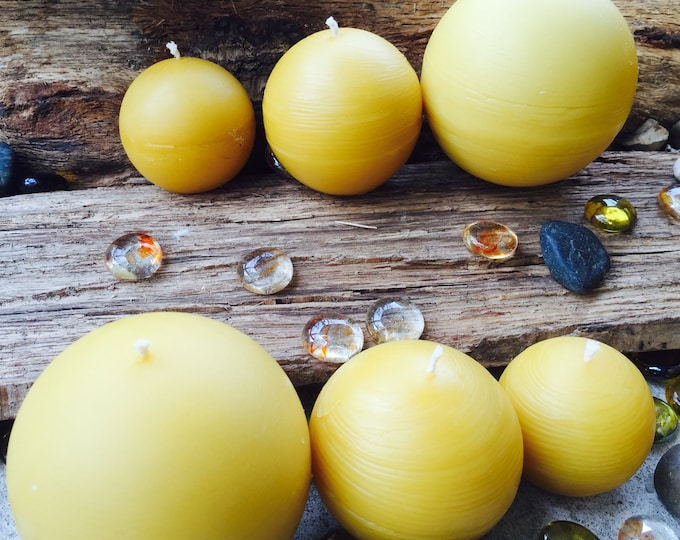 Set of 3 100% Pure Beeswax Sphere candles