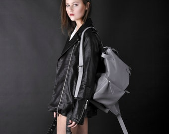 Gray leather backpack - Voyager