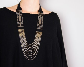 Gold and black sead bead necklace, statement necklace, huichol necklace, native american jewelery, original necklage