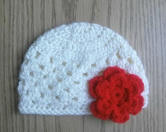 Girl hat with flower - flower hat - flower beanie - baby beanie - baby hat - baby gift - baby shower gift - girl beanie