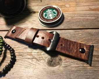 Apple Watch Leather Strap Band - Deep Chocolate  42mm, 38mm Men or Women