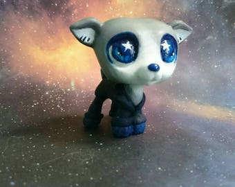 LPS custom white ice star space dog by Pilimonika