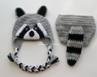 Crochet Raccoon Costume/Crochet Raccoon Hat/Raccoon Hat and Cover/Halloween Raccoon Costume/Baby Raccoon/Photography Prop/Halloween Costume