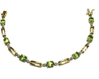 peridot fine gem bracelet in 14k gold