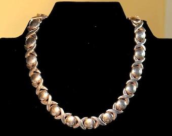 X's & O's Silver Necklace, Italian, Vintage