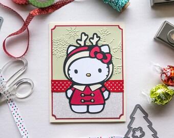 Reindeer Hello Kitty Christmas Card, Handmade Greeting Card