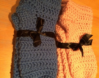 Knee high Merino Wool crochet boot socks, bed socks