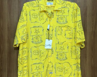 Deadstock Unworn with tags Jc De Castelbajal Silk Rayon All Over Print Shirt Men's Adult Large Size Button Down
