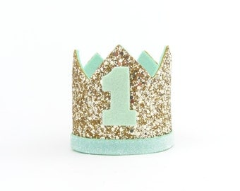 1st Birthday hat, gold hat, First Birthday Hat, photo props, gold ,mint ,Baby Boy Smash Cake Photo Prop