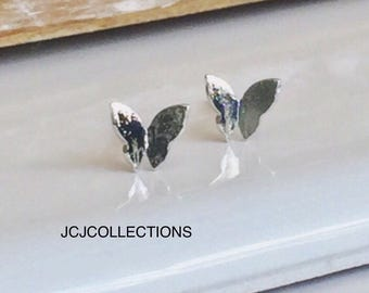Small Silver Butterfly Stud Earrings, Silver Ear stud, Girl Jewelry