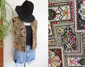 Rare Vintage 1970s Janis Joplin Bohemian Hippie Tapestry Vest