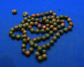Vintage Long Hand Knotted Unakite Bead Necklace With Matching Unakite Sterling Silver Stud Earrings