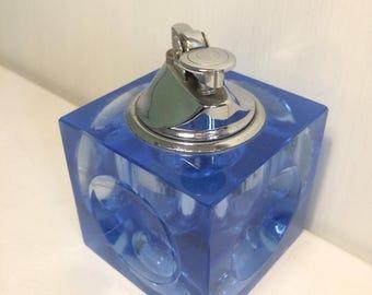 Glass Table Lighter, Vintage Table Lighter, Blue Glass Art, Ross Art  Lighter, Japanese Lighter, Vintage Tobacciana, Blue Glass Cube, Cube