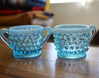 Fenton, Blue Hobnail Glass Sugar and Creamer Set
