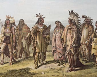 1882 Human Races - Native North Americans Original Antique Lithograph, 11 x 14 inches - Home Decor - Anthropology - Races - Humans