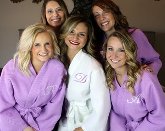 Bridesmaid Robe Set of 12  - Waffle Robe Set - Wedding Robes - Bridal Party Robe - Monogrammed - Embroidered - Personalized Bridesmaids