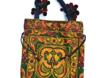 Embroidered Floral Printed Handbag