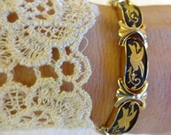 Vintage Damascene Bracelet, Gold and Black Bracelet, Toledo Bracelet, Articulated Bracelet