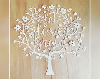 White 'Let Love Grow' Original Design Papercut