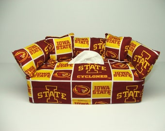 Iowa State University Licensed fabric tissue box cover, Kleenex box cover.
