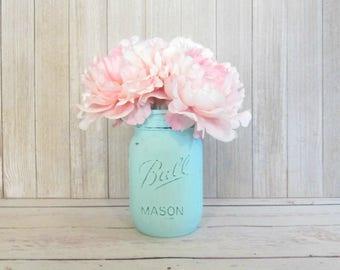 Peony Flower Pens with Mason Jar - Flower Pen Set - Light Pink Peony Pens - Mint Blue Painted Mason Jar - Teen Party Favors