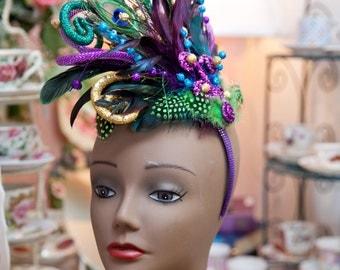 handmade Mardi Gras fascinator