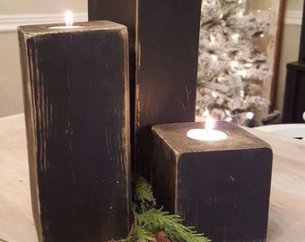 """Wood candleholder trio.  Tea light holder, rustic distressed look.  Farmhouse style.  Includes 12""""/8""""/4"""". Wedding gift, home decor. Black."""