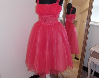 1950s Prom Dress, Pink Prom Dress, Tulle Prom Dress, Cupcake Prom Dress, TuTu Prom Dress, Pink Party Dress, 1960s, Pink Bridesmaid Dress,Hot