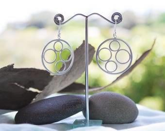 Sterling Silver Hoops - Flattened Silver Circles - Drop Earrings - Dangle Hoops - Paisley Daze Designs