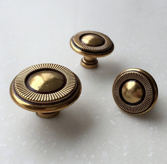 French Shabby Chic Dresser Knobs / Antique Brass Kitchen