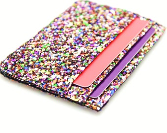 Oyster Card Holder, Glitter Credit Card Wallet, Travel Card Holder, Business Card Holder, Glitter Fabric Purse,