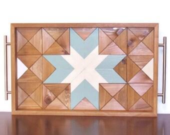 Rustic Wood Tray, Breakfast Tray, Ottoman Tray, Wooden Serving Tray, Geometric Tray, Reclaimed Wood Tray, Cottage Chic Decor, Shabby Decor