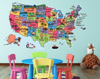 Cartoon USA Map Wall decal, USA Map Decal, Unisex decals, Kid's room decals, Wall decals, Bedroom stickers,Educational decals,Nursery decals