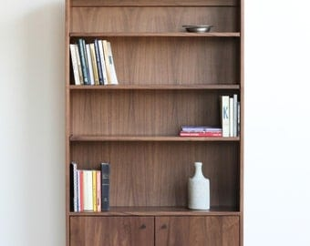 Douglas Tall Bookcase - Solid Walnut - with adjustable shelves