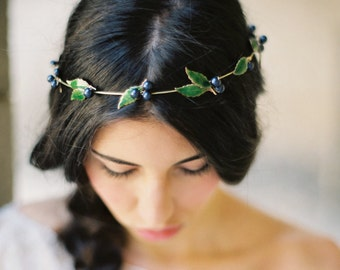 Bridal Crown, Blueberry and Leaf Crown -Style 5615 'Ellyn' MADE TO ORDER