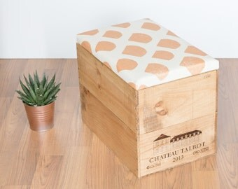Upcycled wooden wine box Ottoman storage box / seat / table with hand screen printed gold scallop pattern