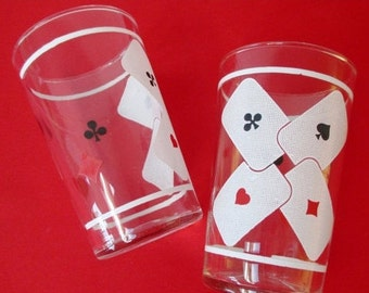 Playing Card Bar Glasses 60s Midcentury Poker Cards Retro Barware Unique  Gift For Gamers Red Black