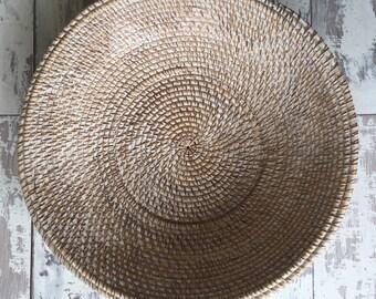 Whitewash rattan handmade bowl