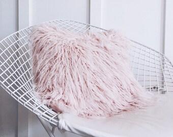 Soft Peach Blush Cushion - Faux Mongolian Fur Pillow Cover