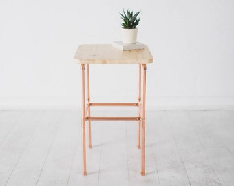 Copper and Pine Bedside Table - Nightstand