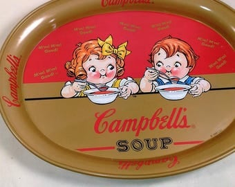 Vintage Campbell Soup Metal Tray Showing The Campbell Kids/No Scratches In Front Minor On Back/No Dents (Q)
