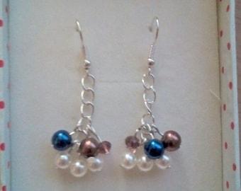 Handmade earrings silver wire pearls long earrings